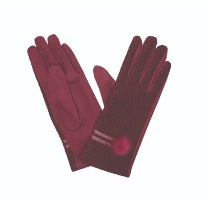 The Quiet Man Collection Gloves With Pom Pom  Burgundy Colour
