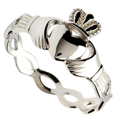 Hallmarked Sterling Silver Claddagh Ring With Intertwining Design