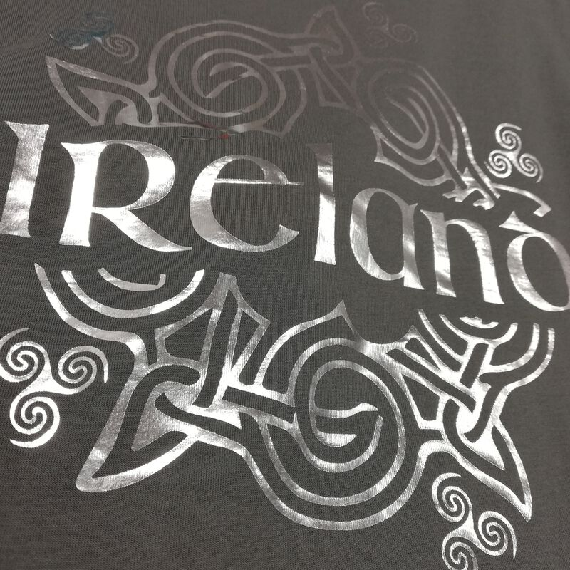 Celtic Style Ireland Ladies T-Shirt  Grey And Silver Colour