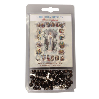 6Mm Brown Wooden Rosary Beads Come With Book About The Rosary
