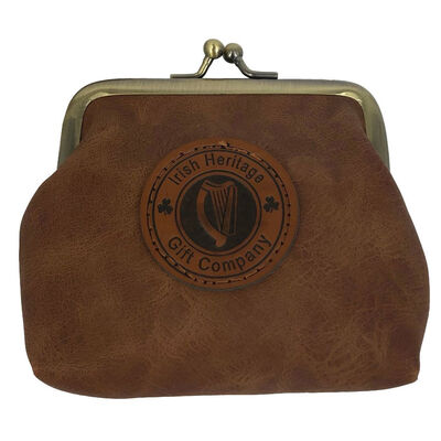 Irish Heritage Gift Company Leather Coin Purse In Brown With Harp Seal Design