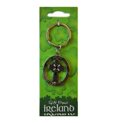 Irish Celtic Cross Spinner Keychain