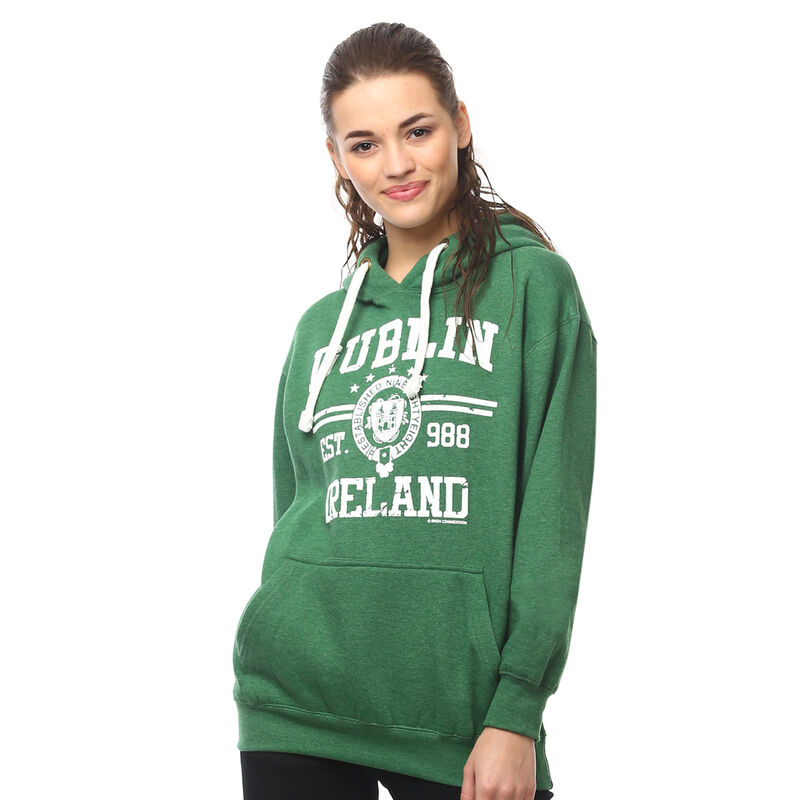 Pullover Hoodie With Dublin Ireland Est 988 Print  Green Colour