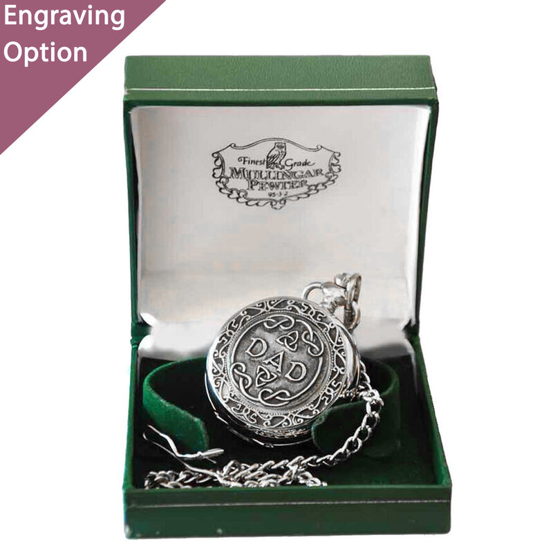 Mullingar Pewter Pocket Watch With Dad Design