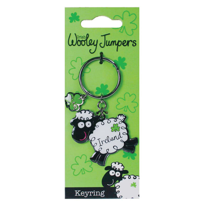 Wooley Jumpers Black and White Sheep Keychain