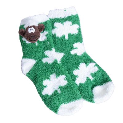 Green Fleece Kids Slipper Socks With Whit Shamrock Design and Soft Seamus Sheep Head