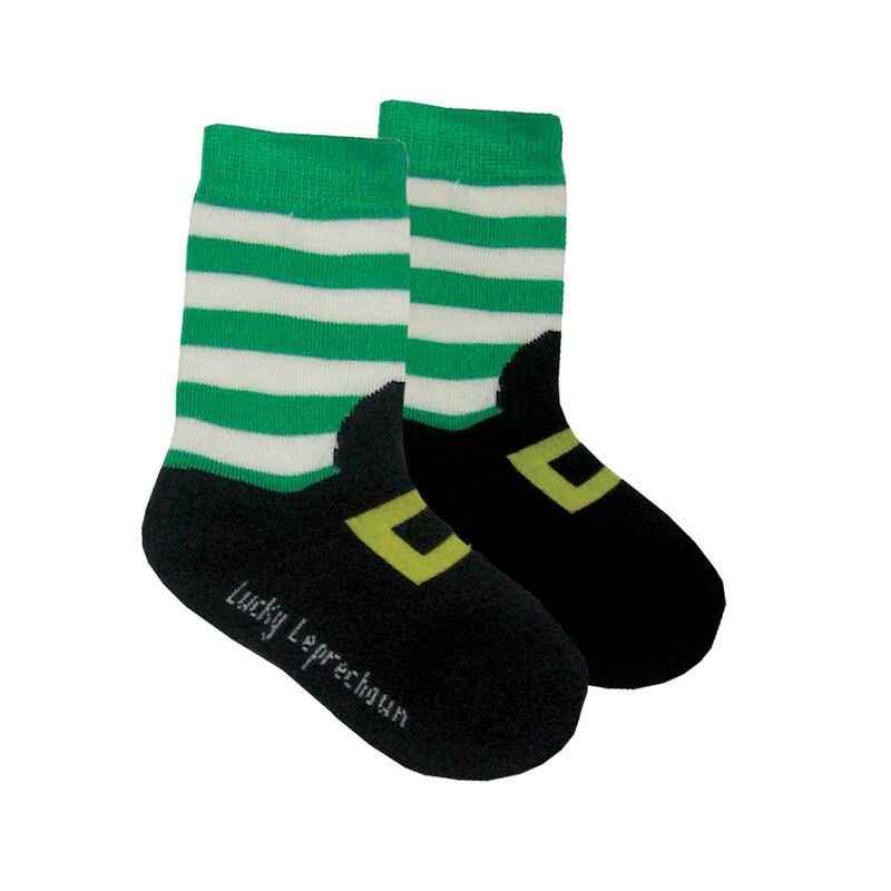 Lucky Leprechaun Kids Socks Green And White Striped Colour With Boots Design