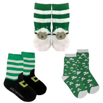Set of 3 Irish Designed Kids Socks - Leprechaun boots, Shamrock Design & Sheep Designed Socks
