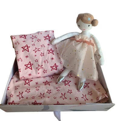 Stork & Co Pink Pyjamas With Star Design & A Ballerina Teddy