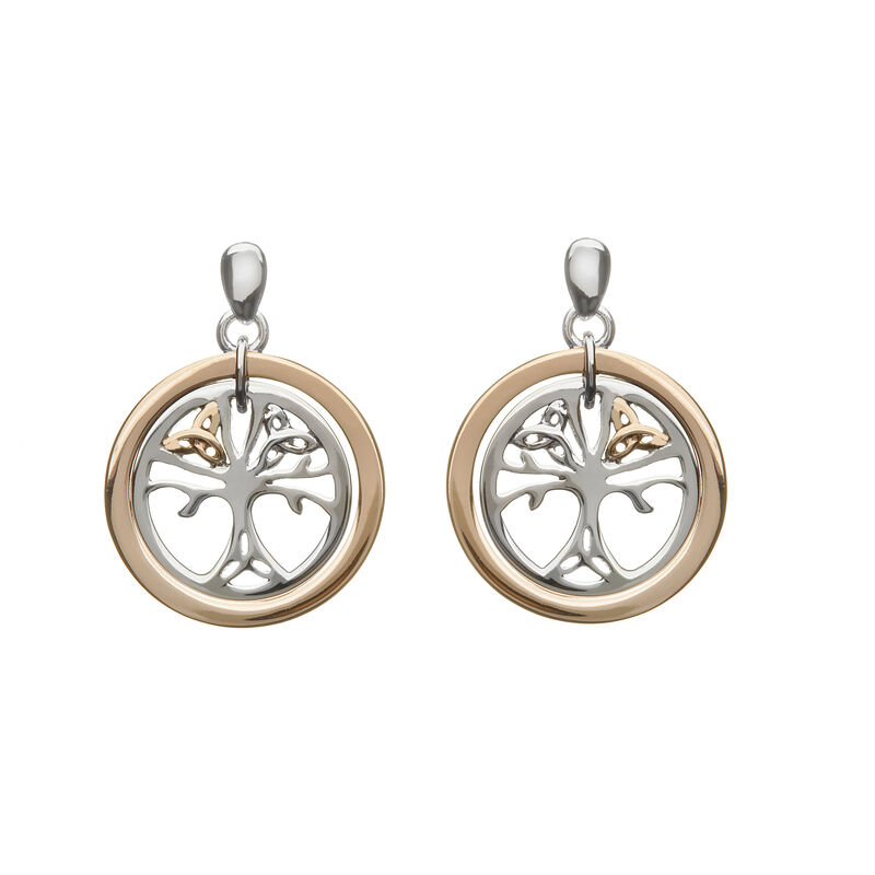 Hallmarked Sterling Silver Trinity Tree of Life Earrings With 9 CT Rose Gold