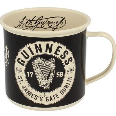 Guinness Enamel Mug With St' James Gate Label Cream Design