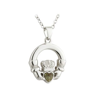 Silver Plated Claddagh Pendant With Connemara Marble Heart