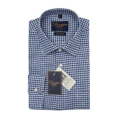 Doogan Donegal 100% Irish Linen Shirt, Blue Checked Colour