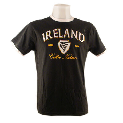 T-Shirt With Harp Celtic Nation Print And White Trim  Bottle Green Colour