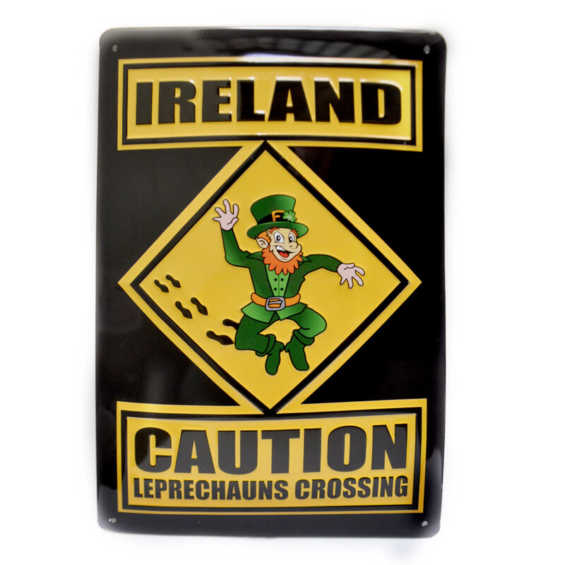 Leprechaun Crossing Metal Sign (8Cm X 11Cm)