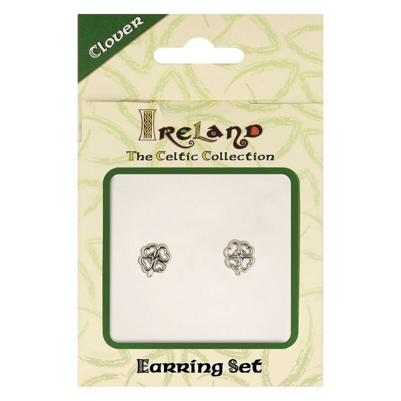 The Celtic Collection Ireland Earrings With Four Leaf Clover Design