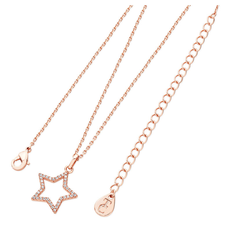 Tipperary Crystal Open Star Rose Gold Plated Pendant With Cubic Zirconia