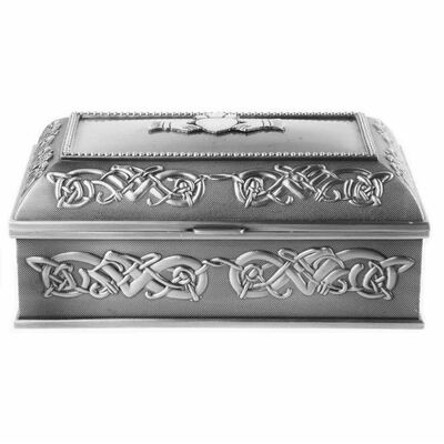Mullingar Pewter Claddagh Jewelry Box With Celtic Pattern - Large Size