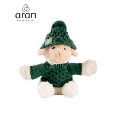 Aran Woollen Mills Small Sheep With Green Aran Jumper And Hat