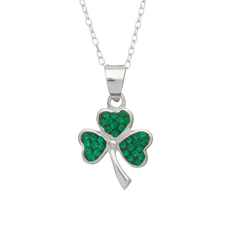 Hallmarked Sterling Silver Shamrock Pendant With Green Cubic Zirconia Design