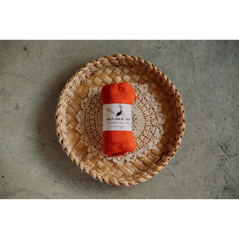 Storks & Co Bamboo Blanket, Orange Colour