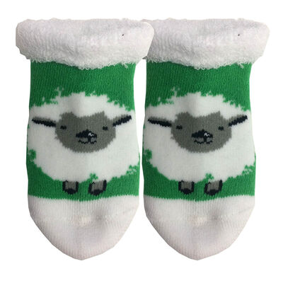 White And Green Woolly Irish Sheep Designed Cute Baby Booties