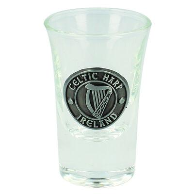 Boxed Irish Shot Glass With Celtic Pewter Harp Ireland Badge