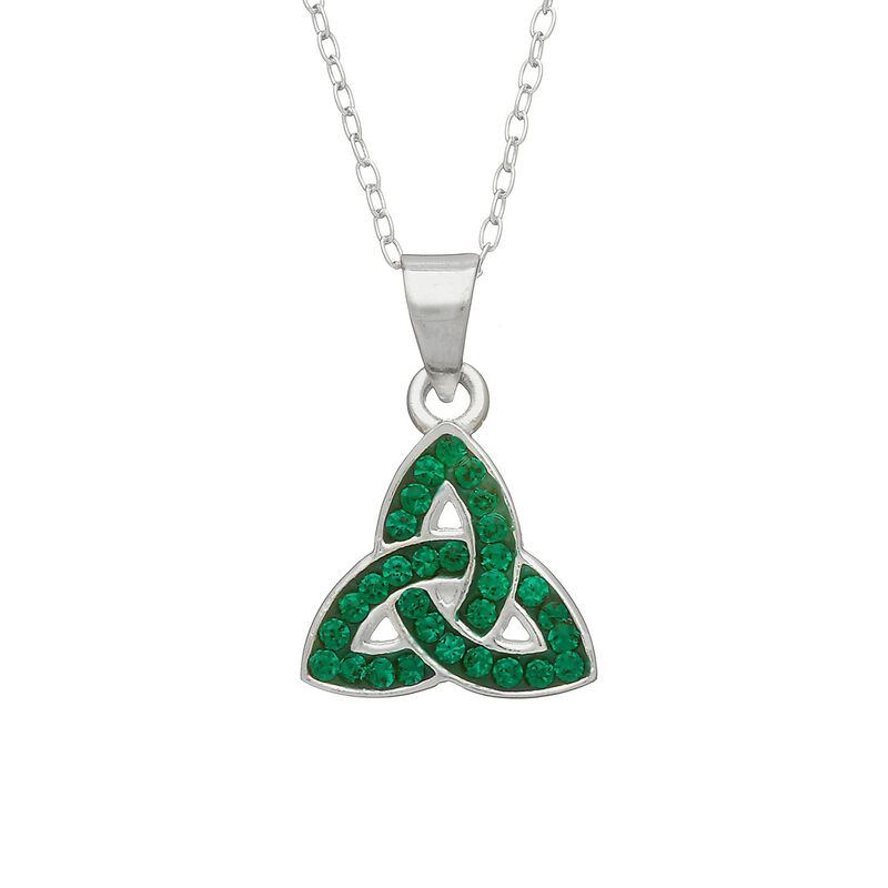 Hallmarked Sterling Silver Trinity Knot Pendant With Green Cubic Zirconia Design