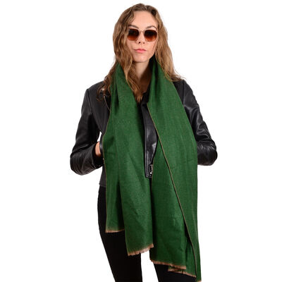 Herringbone Authentic Celtic Ireland Wool Blend Knitted Scarf  Green Colour