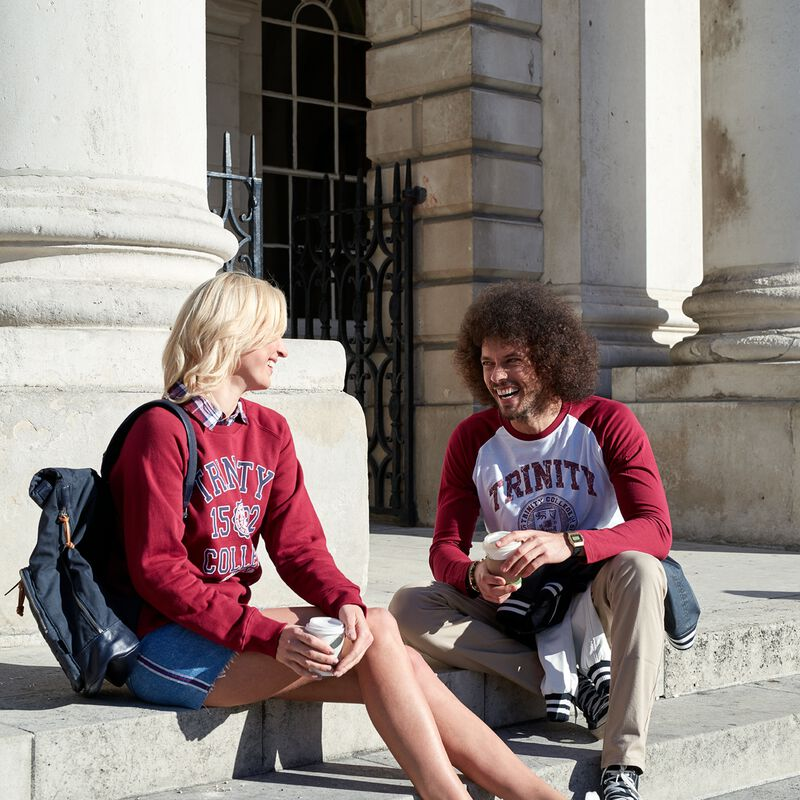 Trinity College Shirt With 1592 Design And College Seal  Burgundy Colour