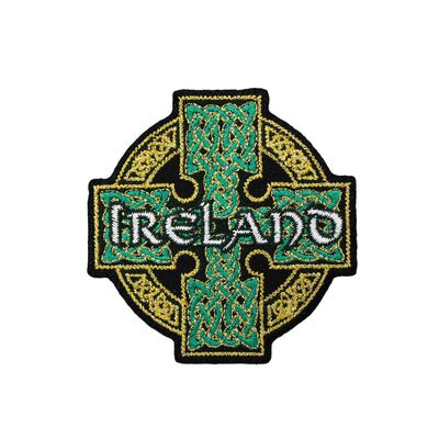Irish Celtic Cross Patch With Ireland Text And Celtic Knot Design
