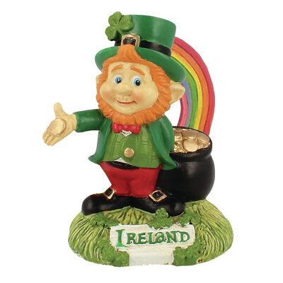 McMurfy Luck O' The Irish Figurine With Rainbow And Pot Of Gold Design