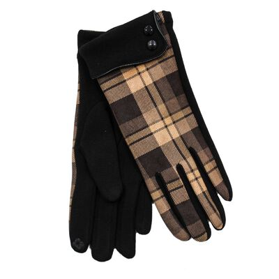 Heritage Traditions Brown Chequered Tech Touch Ladies Button Cuff Gloves