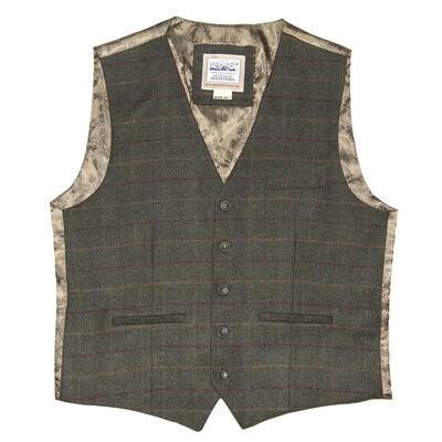 Heritage Traditions Tweed Box Check Waistcoat, Green Colour