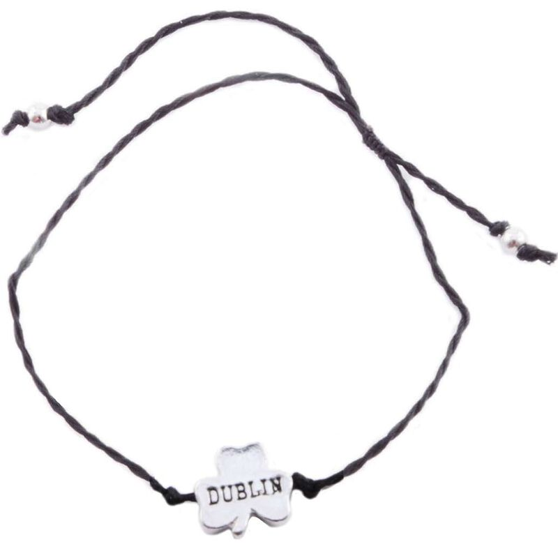 Black Cord Bracelet With Dublin Shamrock Charm