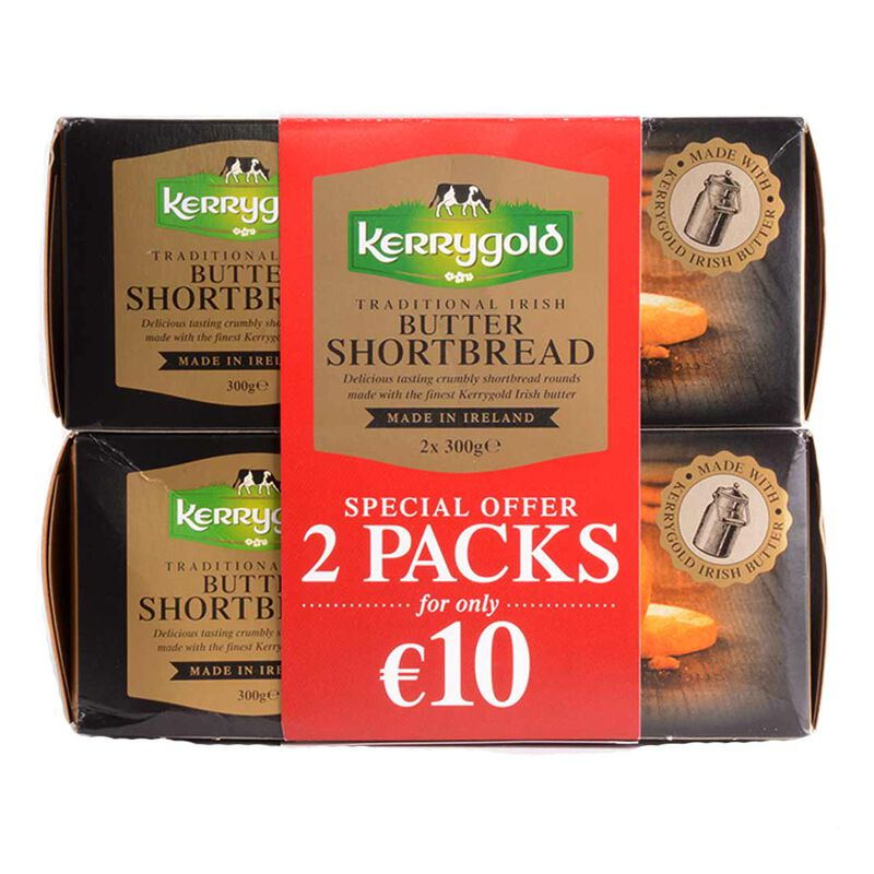 Traditional Irish Butter Kerrygold Shortbread Biscuits  600g (300g x 2 Packs)