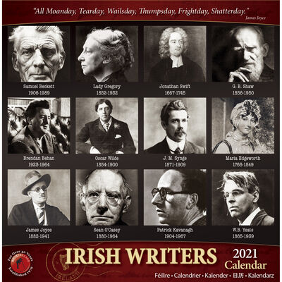 A5 Images of Irish Writers with Quotes 2021 Calendar