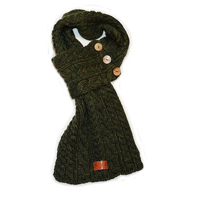 Green Wrap Scarf With Cable Knitted Design And Three Buttons