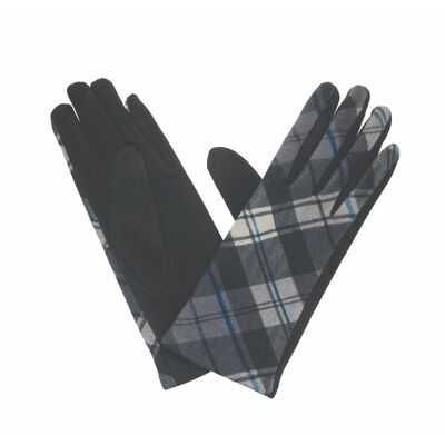 The Quiet Man Collection Grey/Black/Cream Coloured Tartan Gloves