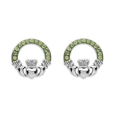 Platinum Plated Claddagh Stud Earrings With Peridot Swarovski Crystals