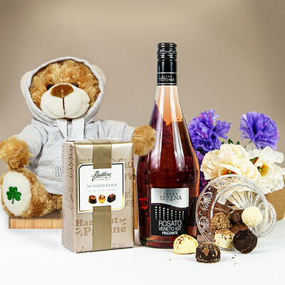 Pink Prosecco, Chocolates & Teddy Bear Gift Set