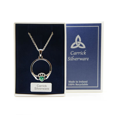 Silver Plated Carrick Silverware Celtic Claddagh Ring Pendant