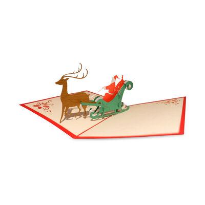 Santa and Reindeer Sleigh Design 3-D Pop Up Deluxe Christmas Card