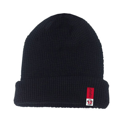 Hop House 13 Recycled Turnup Knitted Beanie Hat, Black Colour