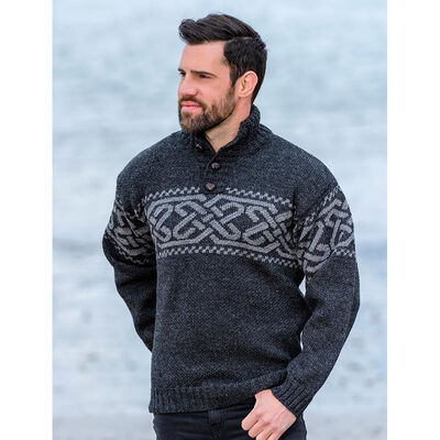 100% Merino Wool Celtic Troyer Designed Sweater, Charcoal Colour
