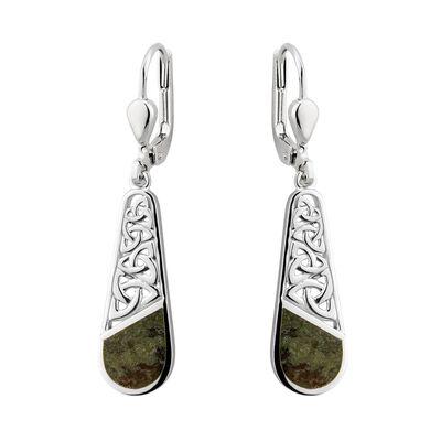 Connemara Marble Sterling Silver Trinity Knotwork Drop Earrings