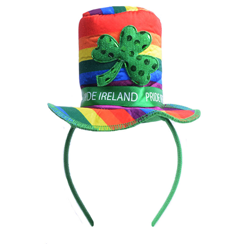 Multi-Coloured Pride Top Hat Hairband with Shamrock and Pride Ireland Ribbon