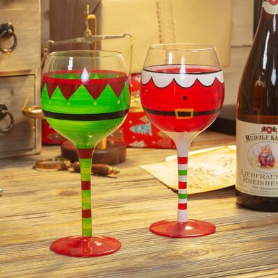 Hand Painted Christmas Wine Goblets