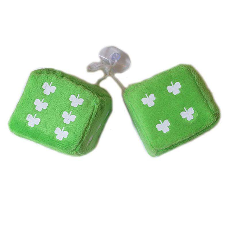Ireland Furry Dice With Shamrock Design  Green Colour