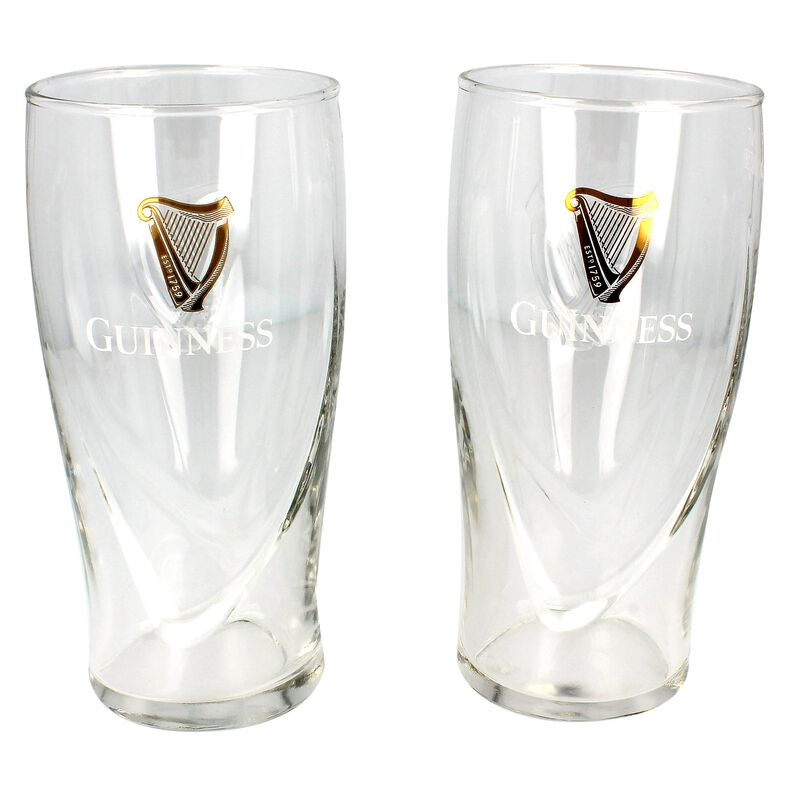 Guinness Logo Two-Pack Pint Glass Set With Embossed Gold Harp